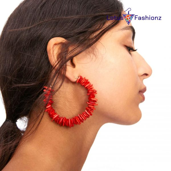 13 600x600 - Colorful Red Stone Big Round Circle Hoop Earrings Beach Party