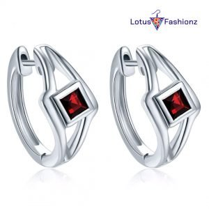 2 300x300 - 925 Sterling Silver Fashion Red Hoop Earrings Wedding Party Jewelry Earring
