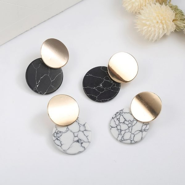 15375 987513 600x600 - Korean Statement Black Acrylic Drop Earrings