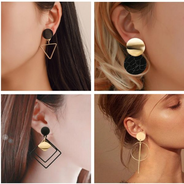 15375 9d572b 600x600 - Korean Statement Black Acrylic Drop Earrings