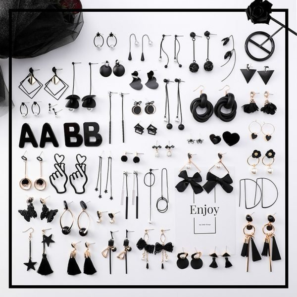 15415 972f1d 600x600 - Girl Earrings Black Geometry Drop Earrings