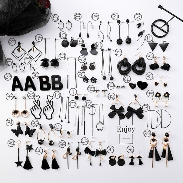 15415 c1cc78 600x600 - Girl Earrings Black Geometry Drop Earrings