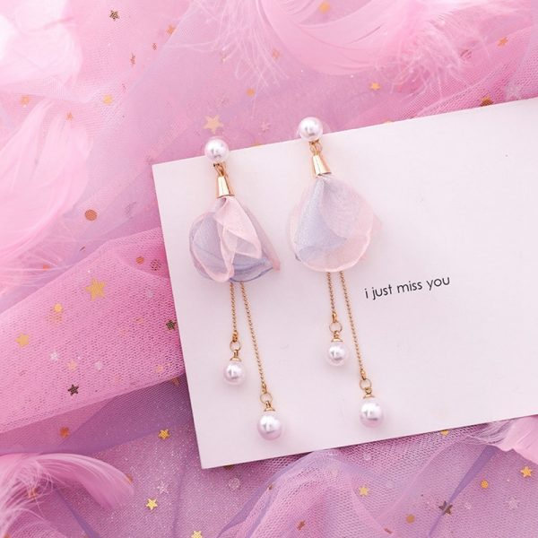 15422 c41730 600x600 - Pink Flower Sweet Geometric Earring