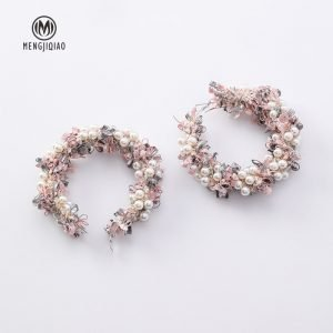 15426 2d0647 300x300 - Handmade Simulated Lotus Wreath Big Circle Earrings