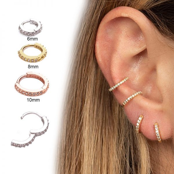 16157 5ff3d3 600x600 - Sellsets New Arrival 1pc 6mm/8mm/10mm Cz Hoop Cartilage Earring Helix Tragus Daith Conch Rook Snug Ear Piercing Jewelry