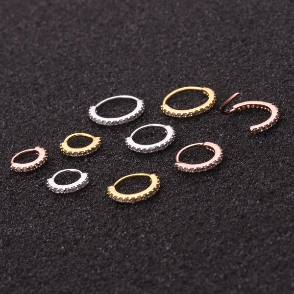 16192 e093d7 600x600 - Sellsets 1PC 6/8/10mm Cz Nose Hoop Helix Cartilage Earring Daith Snug Rook Tragus Ring Ear Piercing Jewelry