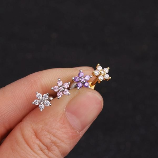 16386 012cfb 600x600 - Feelgood White Pink Purple Cz Flower Piercing Helix Cartilage Earring Tragus Piercing Rook Conch Earring Stud
