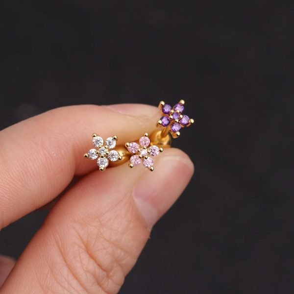 16386 131fe2 600x600 - Feelgood White Pink Purple Cz Flower Piercing Helix Cartilage Earring Tragus Piercing Rook Conch Earring Stud