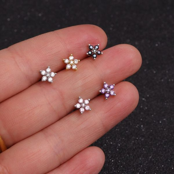 16386 3dd475 600x600 - Feelgood White Pink Purple Cz Flower Piercing Helix Cartilage Earring Tragus Piercing Rook Conch Earring Stud