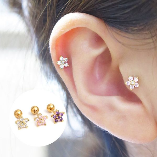 16386 66a5bd 600x600 - Feelgood White Pink Purple Cz Flower Piercing Helix Cartilage Earring Tragus Piercing Rook Conch Earring Stud