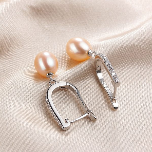16862 c41221 600x600 - Women Freshwater Pearl Earrings Zircon Fashion 925 Sterling Silver Drop Earring White Real Pearl Wedding  Jewelry With Box