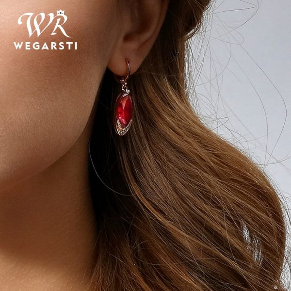 16983 95566a 600x600 - WEGARASTI Silver 925 Jewelry Earrings Ruby Fine Jewelry Classic Vintage Earring Party Pomegranate Sterling silver Red Earrings