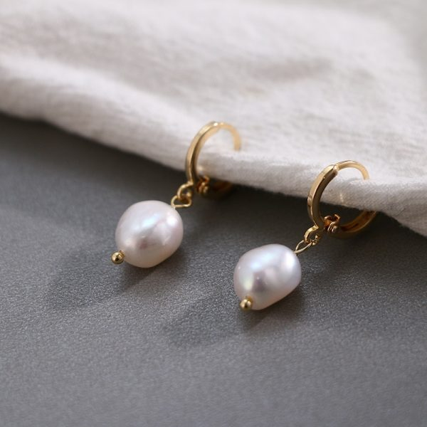 17002 b0ef9e 600x600 - Pearl earrings for Women 14KGF Earrings White natural 100% Freshwater pearl jewelry wedding party Girl gift