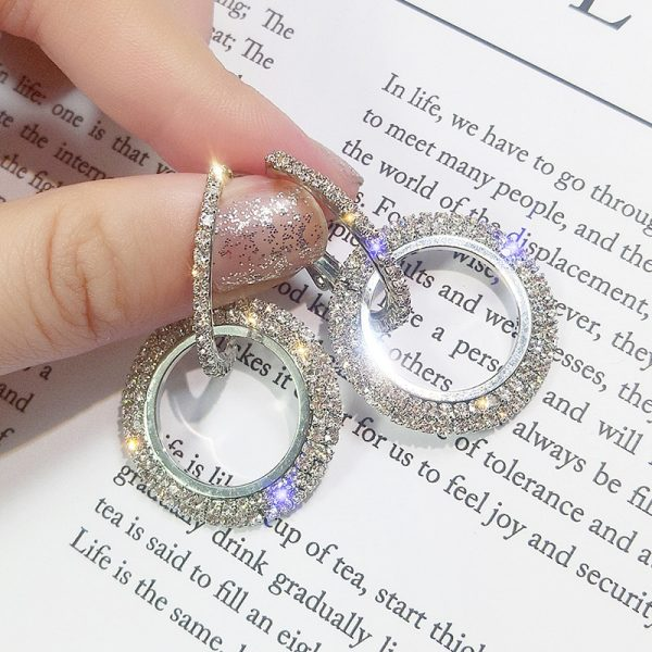 17054 49c31e 600x600 - NEW 925 silver needle rhinestone circle crystal from Swarovskis earrings temperament Korean personality wild Mother's Day gift