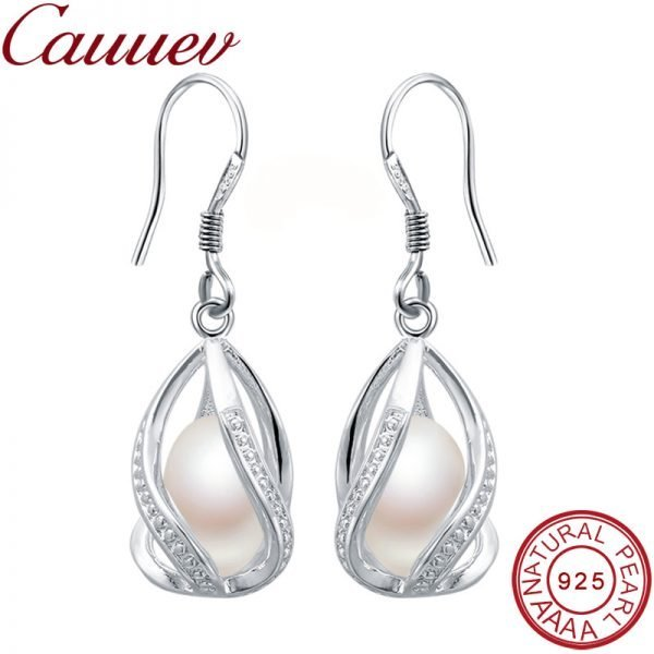 17098 f09e60 600x600 - Natural Freshwater Pearl Drop Earrings For Women Elegant 925 Sterling Silver Anti allergy Earrings DIY Cage Jewelry 2019 cauuev