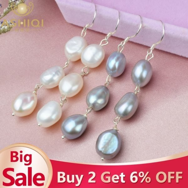 17115 a42192 600x600 - ASHIQI Natural Baroque Pearl Long Earrings For Women Gray freshwater pearl Handmade 925 Sterling Silver drop earrings Party Gift