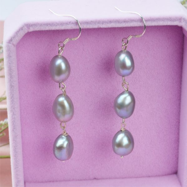 17115 e752c1 600x600 - ASHIQI Natural Baroque Pearl Long Earrings For Women Gray freshwater pearl Handmade 925 Sterling Silver drop earrings Party Gift