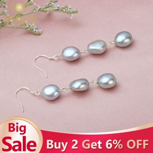 17115 eb781a 600x600 - ASHIQI Natural Baroque Pearl Long Earrings For Women Gray freshwater pearl Handmade 925 Sterling Silver drop earrings Party Gift