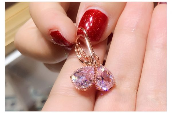 17155 30674f 600x395 - 14K Rose Gold Pink Diamond Earring for Women Fashion Pink Topaz Gemstone Bizuteria 14K Gold Garnet Drop Earring Orecchini Girls