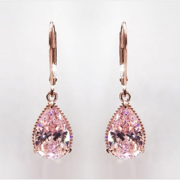 17155 56ae7e 600x600 - 14K Rose Gold Pink Diamond Earring for Women Fashion Pink Topaz Gemstone Bizuteria 14K Gold Garnet Drop Earring Orecchini Girls