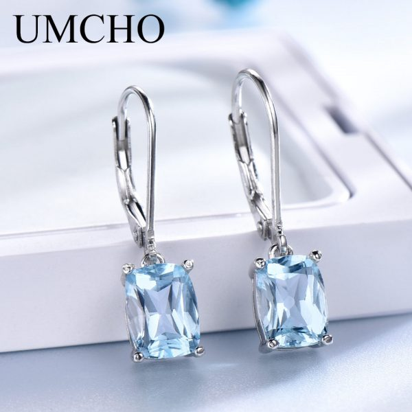 17160 5c0c31 600x600 - UMCHO Genuine 925 Sterling Silver Sky Blue Topaz Drop Earrings Elegant Gemstone Wedding Engagement Jewelry For Women Gifts