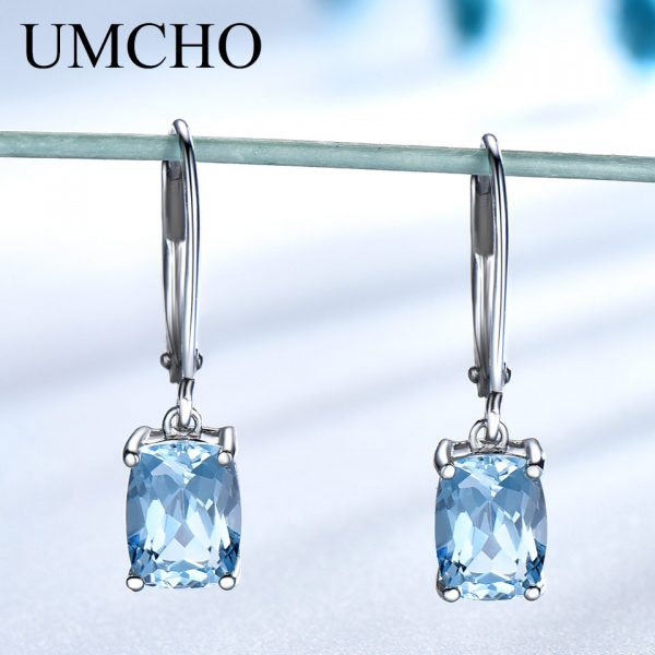17160 be5936 600x600 - UMCHO Genuine 925 Sterling Silver Sky Blue Topaz Drop Earrings Elegant Gemstone Wedding Engagement Jewelry For Women Gifts