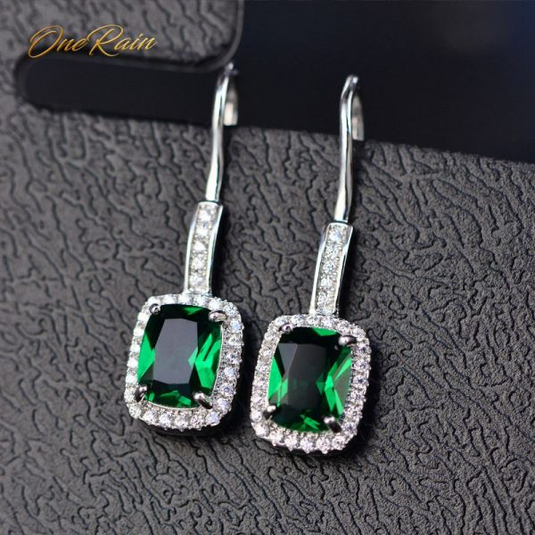 17244 a7c79d 600x600 - OneRain 100% 925 Sterling Silver 6 * 8 MM Emerald Citrine Sapphire Gems Drop Dangle Hook Earrings For Women Jewelry Wholesale
