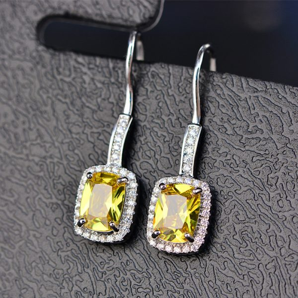 17244 db4525 600x600 - OneRain 100% 925 Sterling Silver 6 * 8 MM Emerald Citrine Sapphire Gems Drop Dangle Hook Earrings For Women Jewelry Wholesale
