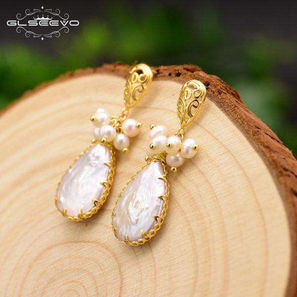 17278 10f112 600x600 - GLSEEVO Natural Fresh Water Baroque Pearl Earrings For Women Plant Leaves Dangle Earrings Luxury Handmade Fine Jewelry GE0308