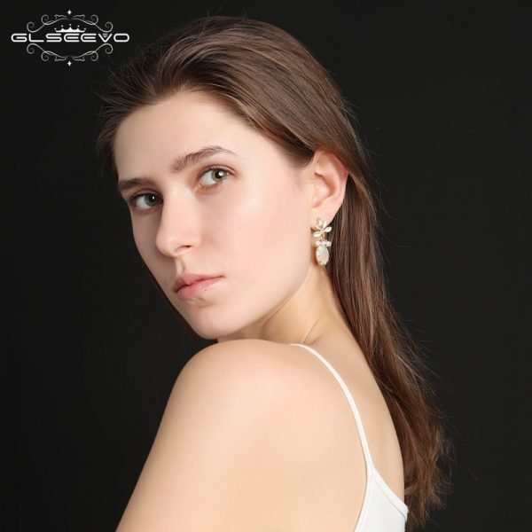 17278 741221 600x600 - GLSEEVO Natural Fresh Water Baroque Pearl Earrings For Women Plant Leaves Dangle Earrings Luxury Handmade Fine Jewelry GE0308