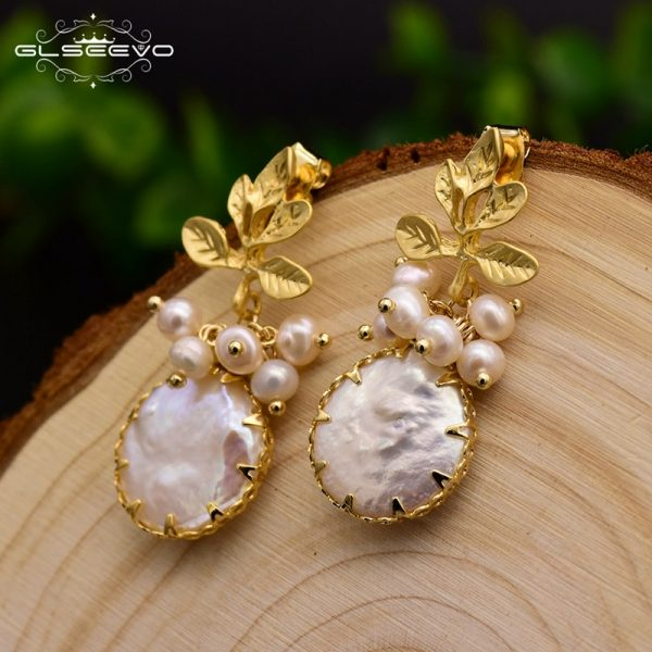 17278 afe927 600x600 - GLSEEVO Natural Fresh Water Baroque Pearl Earrings For Women Plant Leaves Dangle Earrings Luxury Handmade Fine Jewelry GE0308