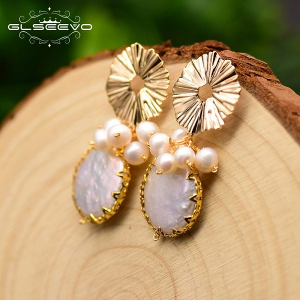 17278 b69e80 600x600 - GLSEEVO Natural Fresh Water Baroque Pearl Earrings For Women Plant Leaves Dangle Earrings Luxury Handmade Fine Jewelry GE0308