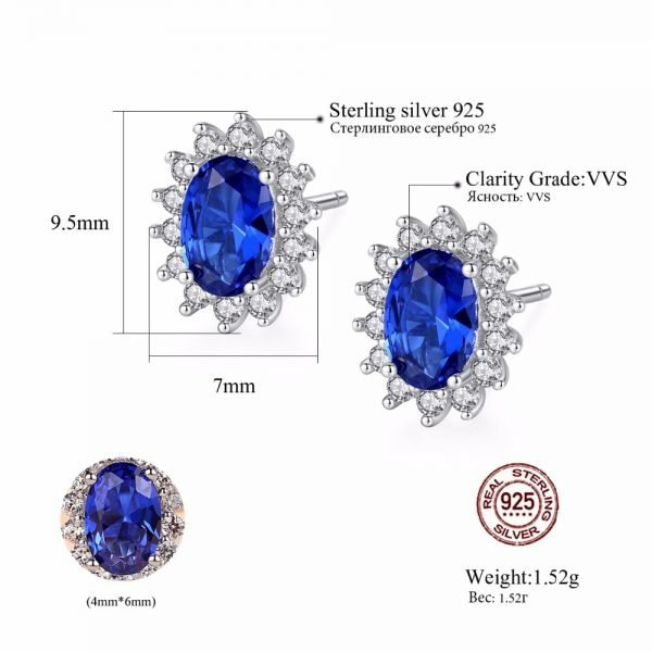 17310 610128 600x600 - CZCITY New Natural Birthstone Royal Blue Oval Topaz Stud Earrings With Solid 925 Sterling Silver Fine Jewelry For Women Brincos