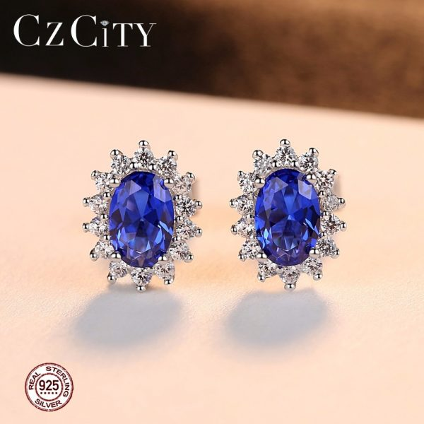 17310 683ca9 600x600 - CZCITY New Natural Birthstone Royal Blue Oval Topaz Stud Earrings With Solid 925 Sterling Silver Fine Jewelry For Women Brincos