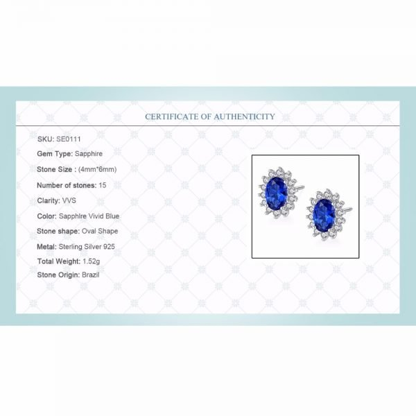 17310 ad05d2 600x600 - CZCITY New Natural Birthstone Royal Blue Oval Topaz Stud Earrings With Solid 925 Sterling Silver Fine Jewelry For Women Brincos