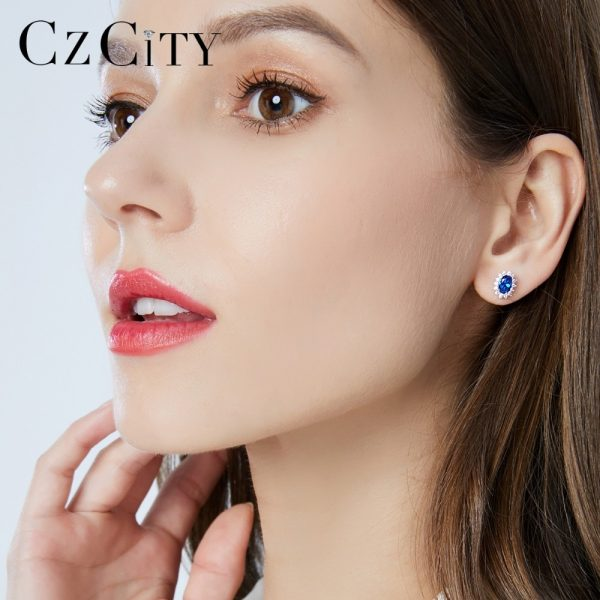 17310 fc424c 600x600 - CZCITY New Natural Birthstone Royal Blue Oval Topaz Stud Earrings With Solid 925 Sterling Silver Fine Jewelry For Women Brincos