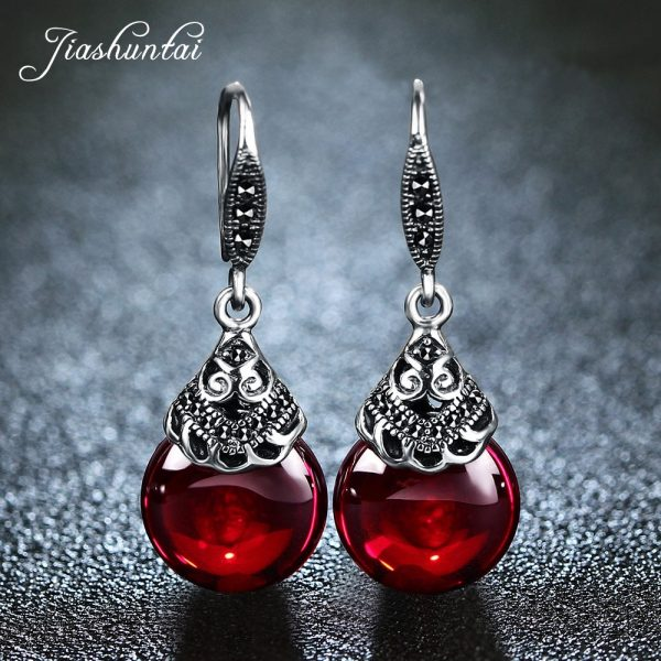 17345 5f8392 600x600 - JIASHUNTAI Retro 100% 925 Sterling Silver Round Garnet Drop Earrings For Women Natural Red Gemstone Ruby Fine Jewelry Best Gifts