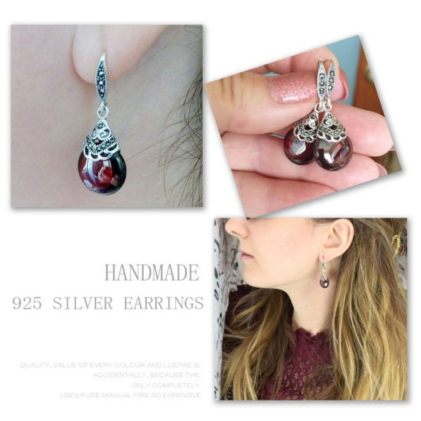17345 6815dd 600x600 - JIASHUNTAI Retro 100% 925 Sterling Silver Round Garnet Drop Earrings For Women Natural Red Gemstone Ruby Fine Jewelry Best Gifts