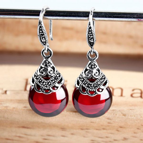 17345 89eb17 600x600 - JIASHUNTAI Retro 100% 925 Sterling Silver Round Garnet Drop Earrings For Women Natural Red Gemstone Ruby Fine Jewelry Best Gifts