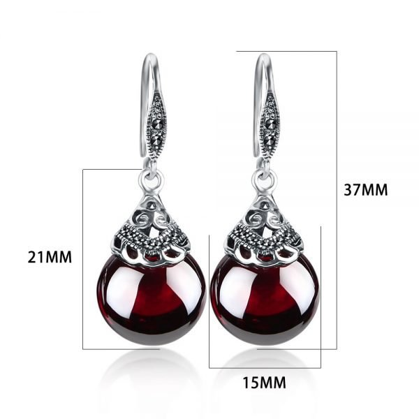 17345 95009f 600x600 - JIASHUNTAI Retro 100% 925 Sterling Silver Round Garnet Drop Earrings For Women Natural Red Gemstone Ruby Fine Jewelry Best Gifts