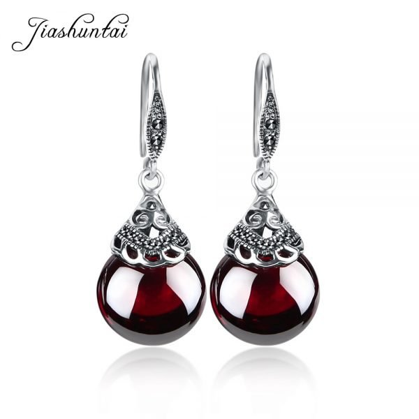 17345 a01c6f 600x600 - JIASHUNTAI Retro 100% 925 Sterling Silver Round Garnet Drop Earrings For Women Natural Red Gemstone Ruby Fine Jewelry Best Gifts