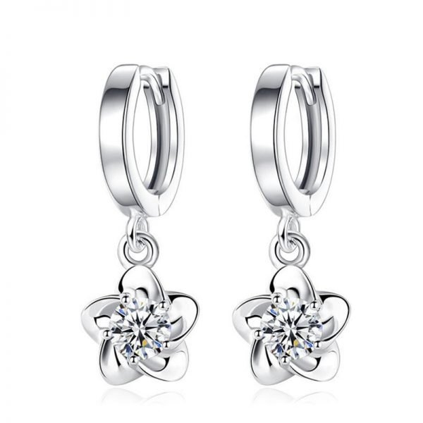 17356 4d5130 600x600 - 100% 925 sterling silver shiny crystal plum flower Drop earrings female jewelry women gift wholesale drop shipping