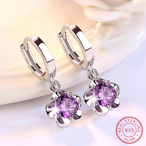 17356 d2a17b 600x600 - 100% 925 sterling silver shiny crystal plum flower Drop earrings female jewelry women gift wholesale drop shipping