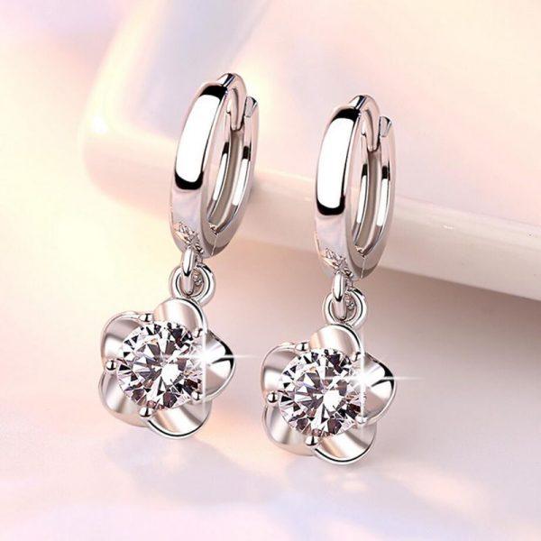 17356 dc1fc7 600x600 - 100% 925 sterling silver shiny crystal plum flower Drop earrings female jewelry women gift wholesale drop shipping