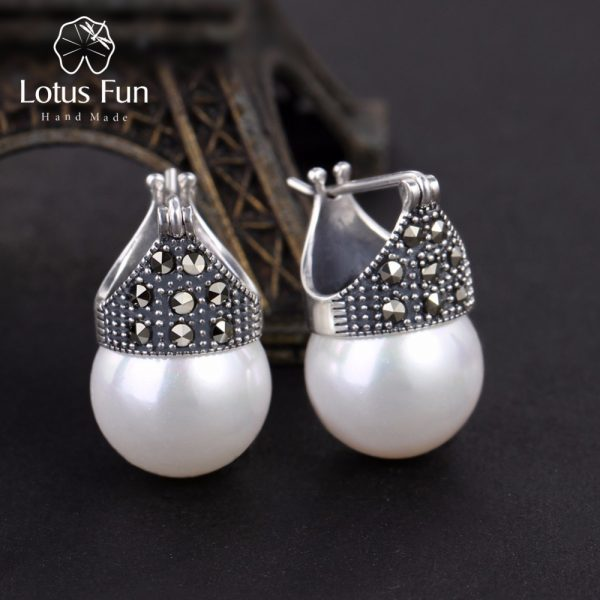 17367 3de45f 600x600 - Lotus Fun Real 925 Sterling Silver Natural Mother of Pearl Earrings Fine Jewelry Vintage Fashion Drop Earrings for Women Brincos