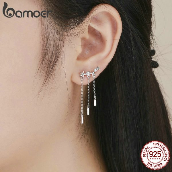 17404 279c1d 600x600 - BAMOER Genuine 925 Sterling Silver Long Chain Star Dazzling CZ Drop Earrings for Women Fashion Earrings Silver Jewelry SCE399