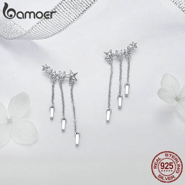 17404 81c03e 600x600 - BAMOER Genuine 925 Sterling Silver Long Chain Star Dazzling CZ Drop Earrings for Women Fashion Earrings Silver Jewelry SCE399
