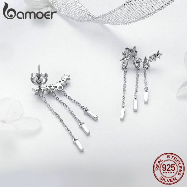 17404 954e46 600x600 - BAMOER Genuine 925 Sterling Silver Long Chain Star Dazzling CZ Drop Earrings for Women Fashion Earrings Silver Jewelry SCE399