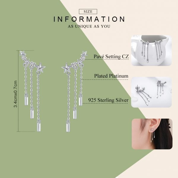 17404 9faa03 600x600 - BAMOER Genuine 925 Sterling Silver Long Chain Star Dazzling CZ Drop Earrings for Women Fashion Earrings Silver Jewelry SCE399