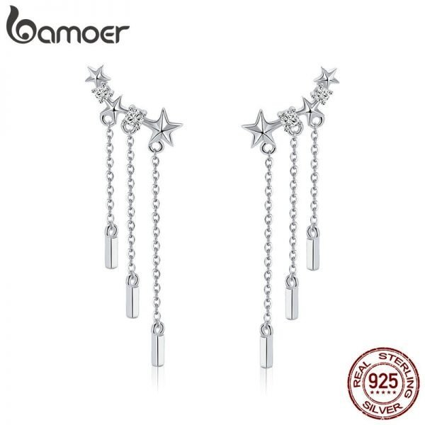 17404 d02ec0 600x600 - BAMOER Genuine 925 Sterling Silver Long Chain Star Dazzling CZ Drop Earrings for Women Fashion Earrings Silver Jewelry SCE399